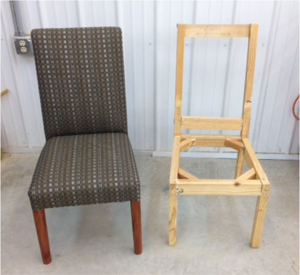 The finished new chair next to the original frame.