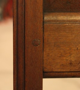 Slightly open mortise and tenon joint from chair