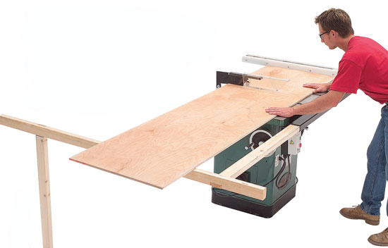 Self-Storing Tablesaw Support - Popular Woodworking Magazine
