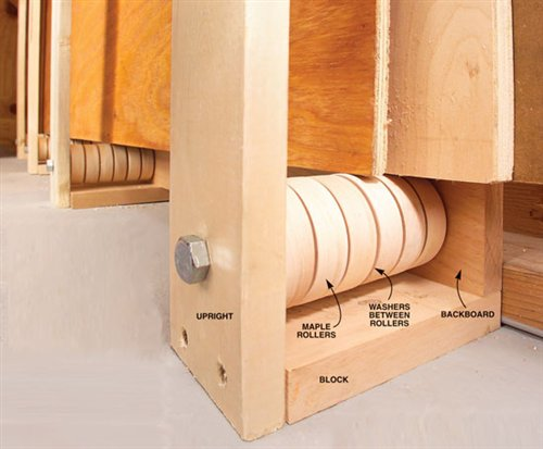 Rollers ease plywood storage popular woodworking magazine for Mobile lumber storage rack plans