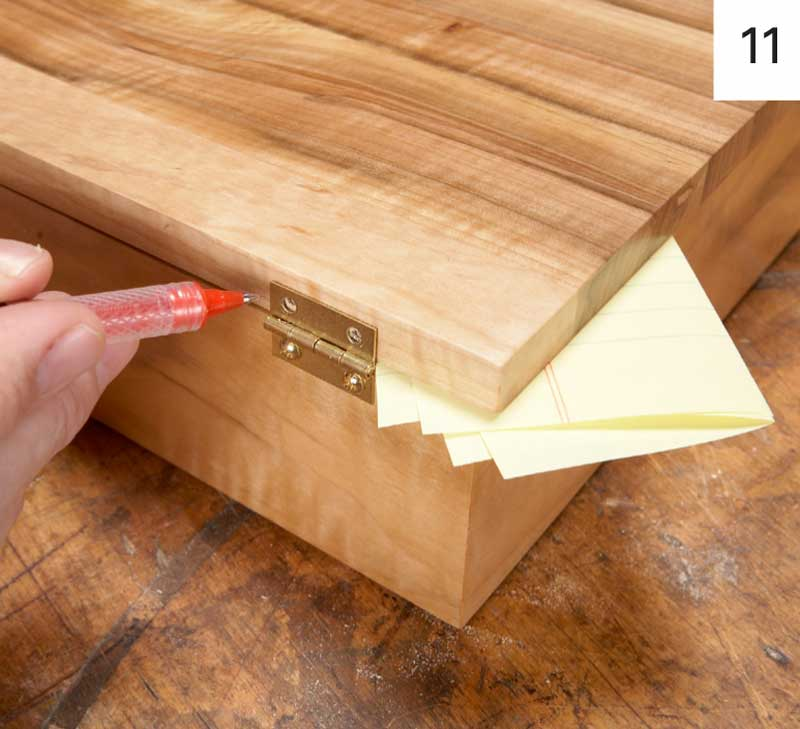 11. Install hinges on the box, then mark screw holes for the lid ...