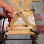 Perfect spacing. A scrap of wood helps to locate the cleat position to the seat as you screw them together.