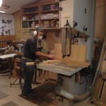 "Phil is resawing mahogany into 1/16"" strips on my 36"" band saw"