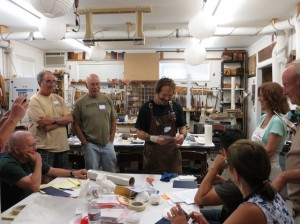 David teaches his gold leaf and patination process to students.
