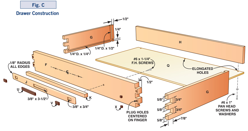 Cabinet Drawer Construction Details : How to make a greene style hall table diy plans