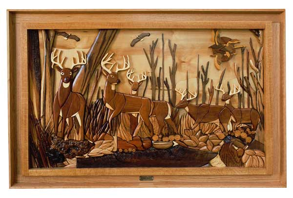 "Tom Kaldunski's ""Whitetail Woodlands' intarsia is the Readers' Choice winner in Turnings, Carvings & Objets d'Art."