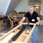 "Isaac Smith, of Blackburn Tools, shows off his new frame saw (modeled after one shown in A.J. Roubo's ""L'art du menuisier"")"