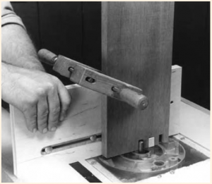 The finger joint router jig in use