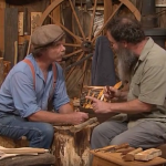 "A screen grab from ""The Woodwright's Shop Season 31, Episode 8, featuring Peter Follansbee showing Roy Underhill how to carve a Swedish-style spoon."