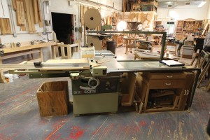 Tweaked machinery. An SCMI table saw is at the heart of Miller's shop. Note the shop-made blade guard (which he never removes) and the sliding fence, which Miller modified to satisfy himself.