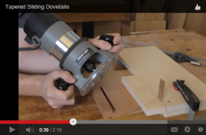 Matthew Teague's use of a basic router jig and a small shim to taper a cut.