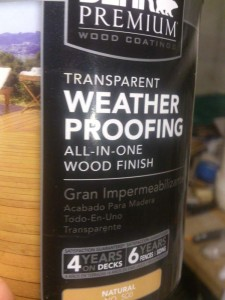 Behr wood stain is marketed primarily for decks, but I'm testing it on a piece of cedar for outdoor furniture.