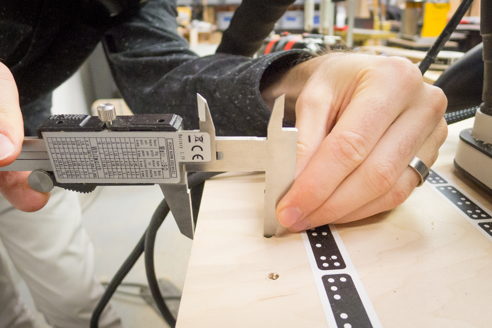 Precision cutting and spacing of shelf pin holes can be drilled with the Origin.