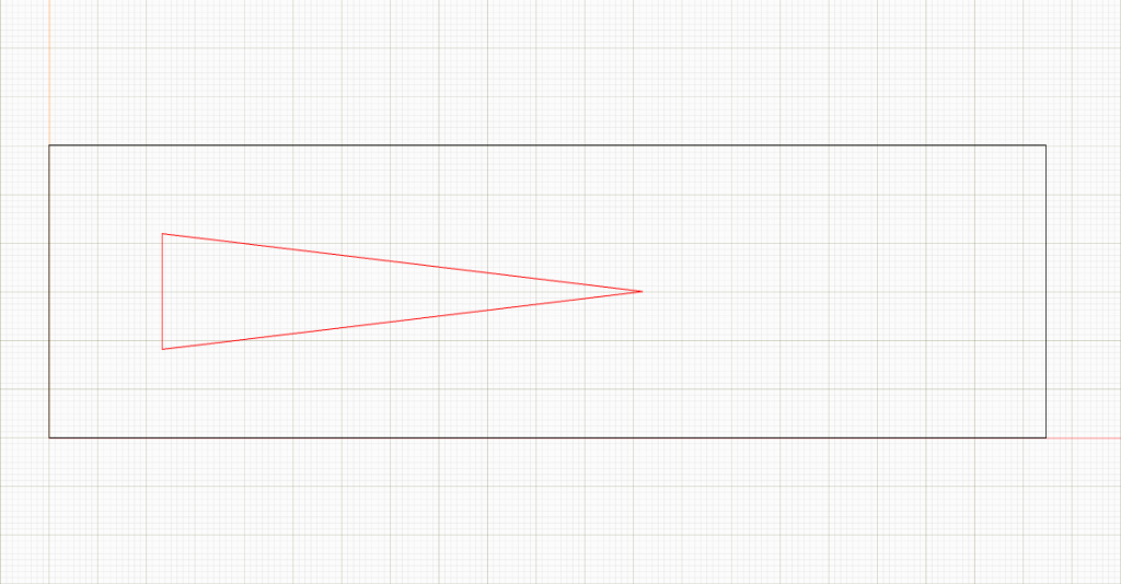 The red area in this CAD drawing is a narrow triangle that I wanted cut out of the board.