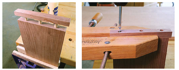 Breadboard ends with dowel joinery (left) and screw joinery (right)