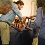 Joshua Klein, a furniture maker and conservator based in Brooklin, Maine, visits the Furniture Study to demonstrate woodturning techniques used in 17th- and 18th-century furniture making, using a traditional foot-powered treadle lathe.