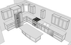 A Kitchen Modeled In SketchUp