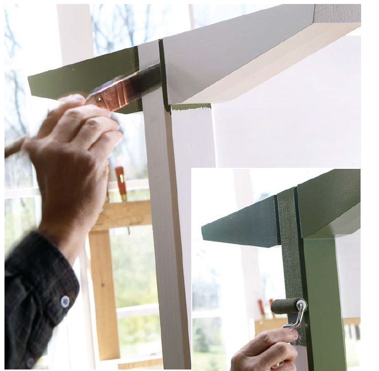 When painting wood furniture, trim the corners with a small brush and feather the edges of the paint line. Then, roll paint over the flat surface of the same piece, making sure to first pick up the wet edge you just painted with the brush. This will help you avoid unsightly lap lines to produce a professional-looking finish.