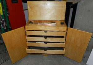 Front view of Bill's tool chest with doors opened.