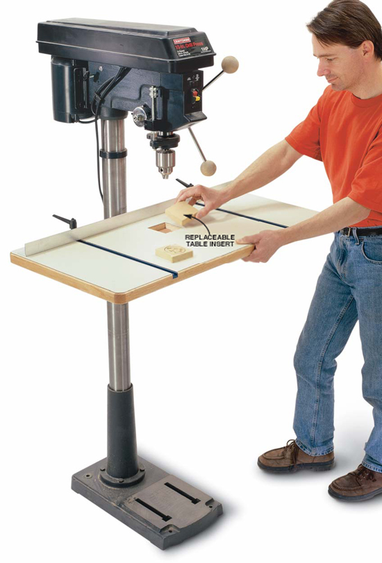 Spacious Drill Press Table - Popular Woodworking Magazine