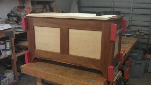 "Overview of the completed hope chest. Dimensions are 2' high, 3' wide and 20"" deep."