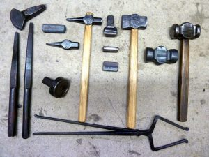 A full range of basic blacksmithing tools at Brian Brazeal's shop.
