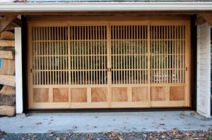 Toshio Odate's workshop door is more than your basic roll-up.