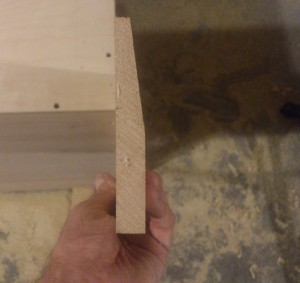 The end result – a 2-inch bevel running the length of the trim piece.