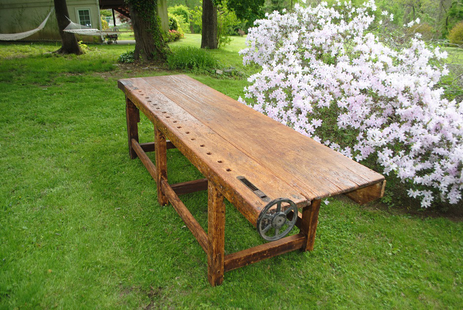 Unique 19th Century Antique Woodworkers Bench Amsterdam Modern