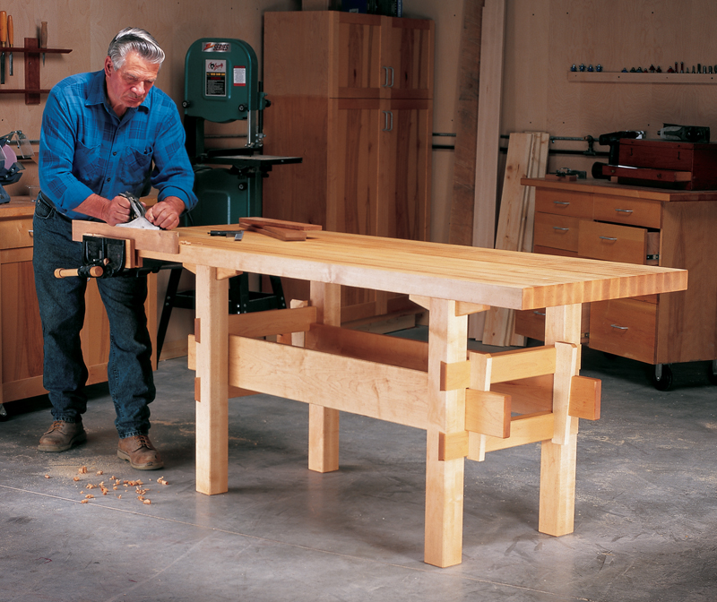 Wedged base workbench popular woodworking magazine for Wood work table design